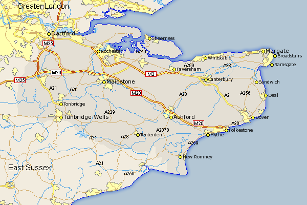 Kent - Click on the map to enlarge.